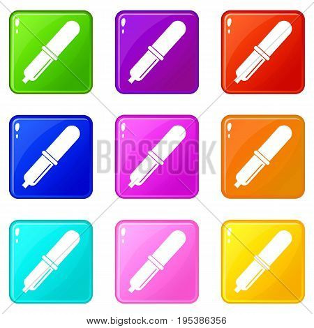 Pipette icons of 9 color set isolated vector illustration