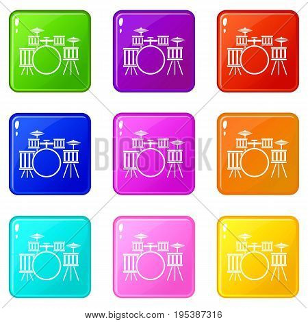 Drum kit icons of 9 color set isolated vector illustration