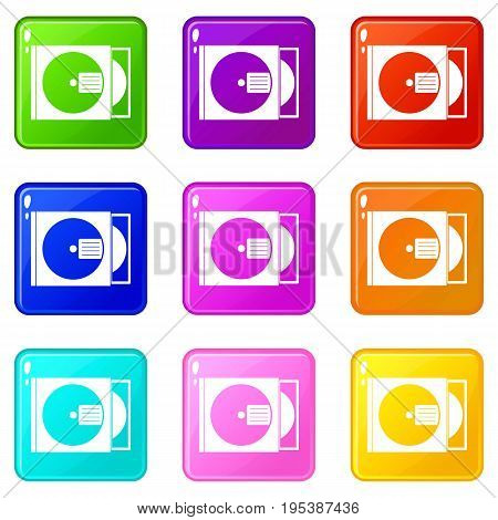 CD box with disc icons of 9 color set isolated vector illustration