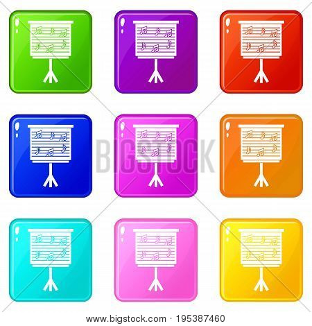 Whiteboard with music notes icons of 9 color set isolated vector illustration