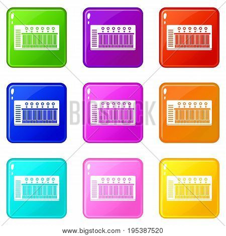 Electronic synth icons of 9 color set isolated vector illustration