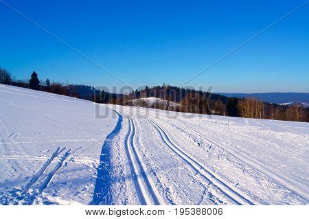 Cross country skiing track in the snow