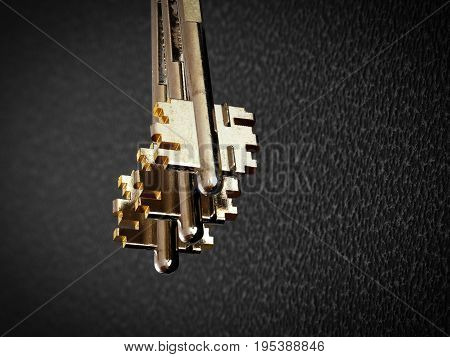A bunch of golden keys close up on a background surface of the iron door.