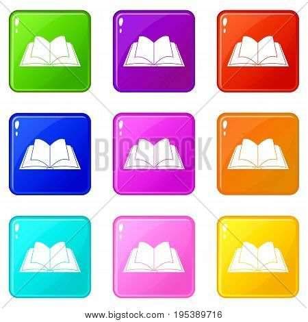 Opened book with pages fluttering icons of 9 color set isolated vector illustration