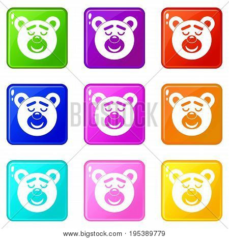 Sleeping teddy bear icons of 9 color set isolated vector illustration