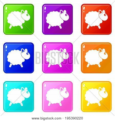 Sheep icons of 9 color set isolated vector illustration