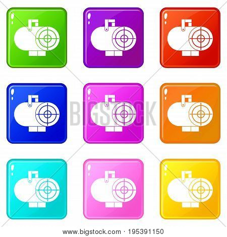 Industrial fan heater icons of 9 color set isolated vector illustration
