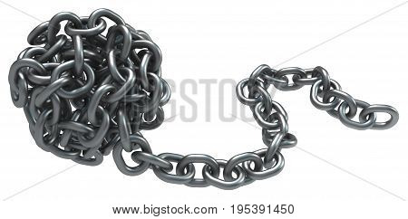 Chains ball roll dark metal 3d illustration isolated horizontal over white