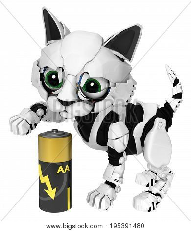 Robotic kitten energy battery 3d illustration horizontal isolated