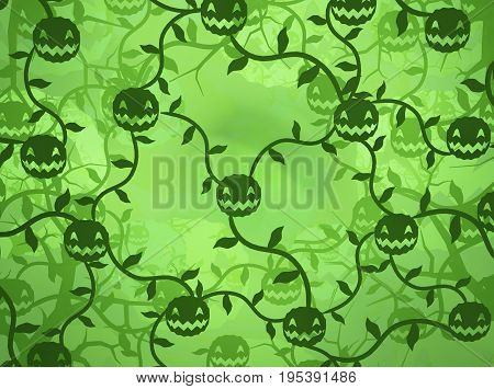 Halloween pumpkin patch shadows cartoon green color