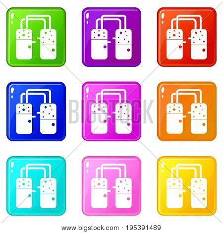 Containers connected with tubes icons of 9 color set isolated vector illustration