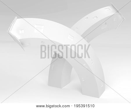 Tall white cottages bending abstract 3d illustration horizontal
