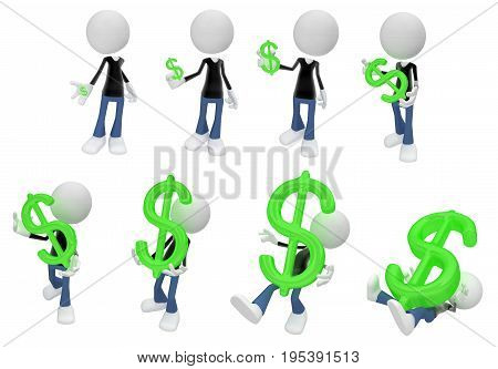 White symbolic figures action pose sequence dollar money symbol 3d illustration horizontal isolated