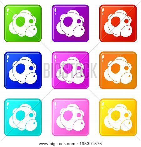 Atom icons of 9 color set isolated vector illustration