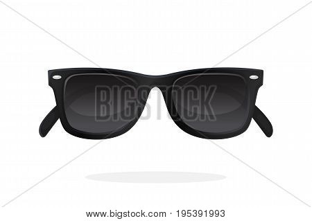 Modern sunglasses with black plastic-framed frames and black lenses. Vector illustration in cartoon style. Summer accessory. Eyewear for protection from sun beam