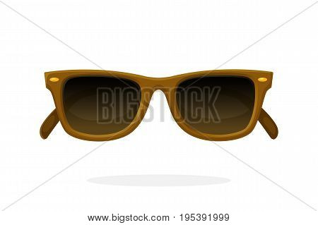 Retro sunglasses with brown horn-rimmed frames and brown lenses. Vector illustration in cartoon style. Summer accessory. Eyewear for protection from sun beam
