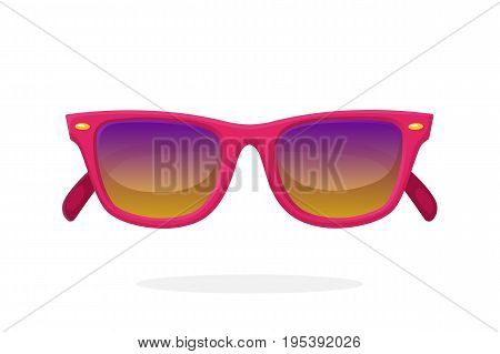 Modern sunglasses with pink plastic-framed frames and mirror lenses. Vector illustration in cartoon style. Summer accessory. Eyewear for protection from sun beam