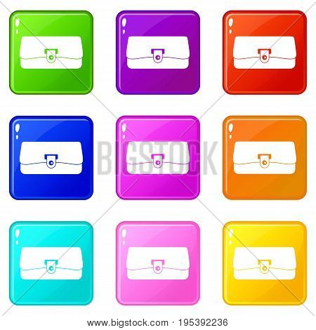 Small wallet icons of 9 color set isolated vector illustration