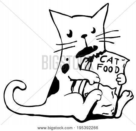 Greedy cat stylized cartoon line drawing horizontal vector illustration isolated