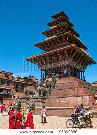 KATHMANDU, BHAKTAPUR, NEPAL. 30 September 2008: The five-story 30m-high Nyatapola Temple is the tallest temple in the Kathmandu valley, located in Taumadhi Tole square in Bhaktapur.
