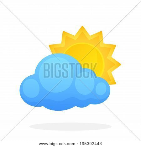 Sun with triangular rays disappeared behind a cloud isolated on white background. Vector illustration in flat style. Weather symbol