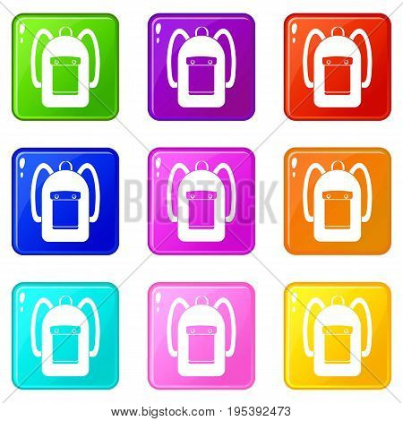 Backpack icons of 9 color set isolated vector illustration