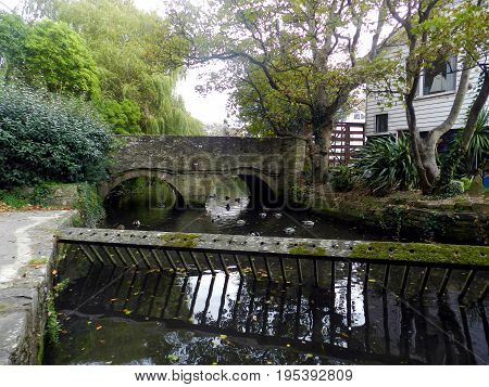 The Saxon bridge beside Place Mill, Christchurch