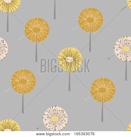 Vector Seamless Pattern With Stylized Dandelions. Hand Drawing Illustration. Modern Repeating Textur