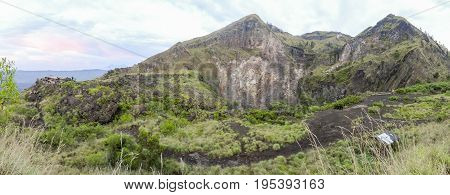 scenery around a volcano named Mount Batur in Bali Indonesia