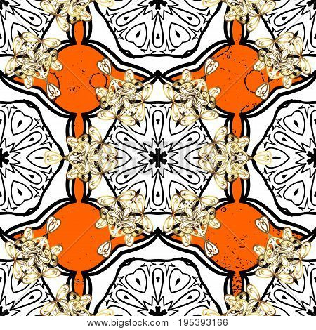 Oriental style arabesques. Vector white pattern. White roughness textured curls. Orange background with golden elements.