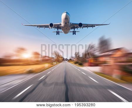 Passenger Airplane With Motion Blur Effect