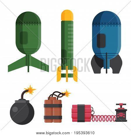Bomb dynamite fuse vector illustration. Grenade attack power ball burning detonation. Explosion fire military destruction design aggression object.