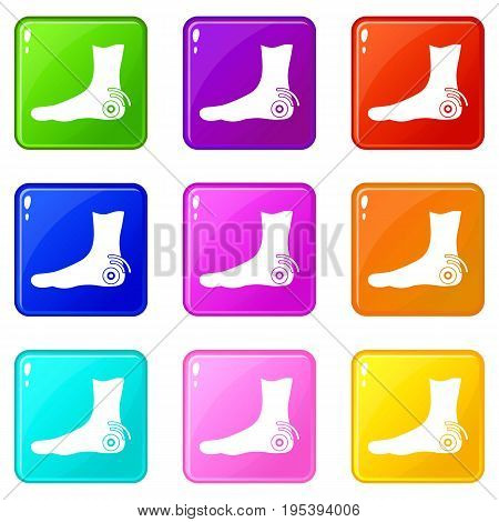 Foot heel icons of 9 color set isolated vector illustration