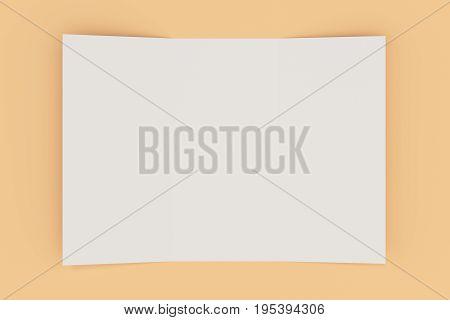 Blank White Open Three Fold Brochure Mockup On Orange Background