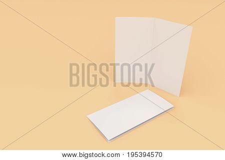 Blank White Two Fold Brochure Mockup On Orange Background