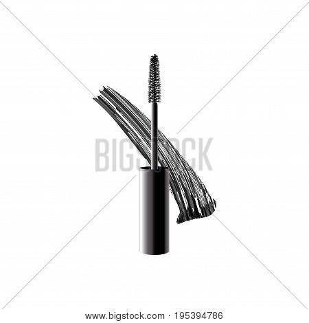 Black Realistic Mascara Brush Strokes. Vector Make Up Trend Illusration. Isolated On White Backgroun