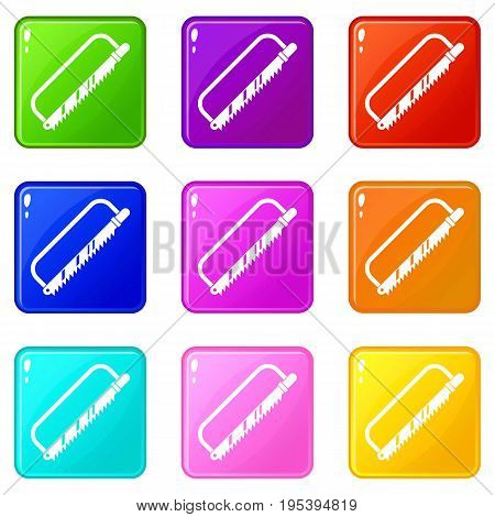 Sergical saw icons of 9 color set isolated vector illustration