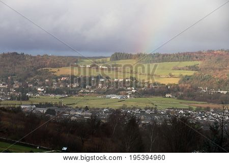Rainbow over Scottish Highlands on a Soggy Day