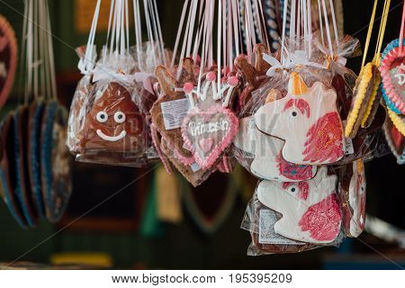 Lebkuchen traditional bavarian ginger bread in forms of poo heart with the text