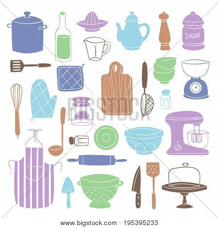 Kitchen utensils food kitchenware cooking set domestic tableware vector illustration. Restaurant or household appliance equipment dishware.