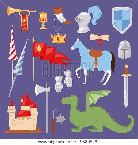 Heraldic royal crest Middle Ages medieval knight elements vintage king knighthood castle badge vector illustration. Historical insignia attributes luxury ornament graphic.
