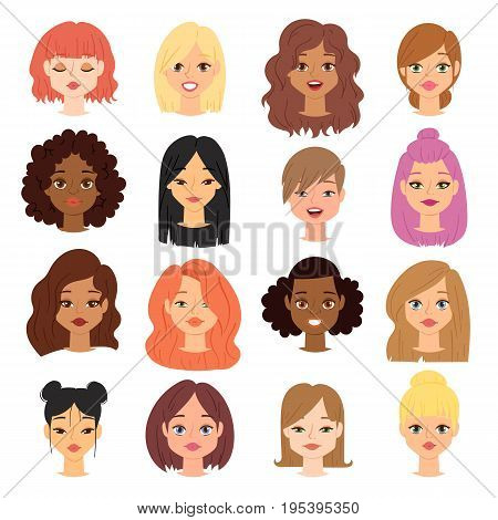 Different ethnic nationality affiliation woman head face vector icons.. Woman emoji face icons cute different girl skin color symbols. Long and short haircut