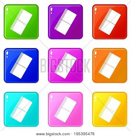 Eraser icons of 9 color set isolated vector illustration