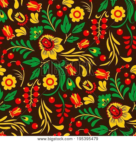Vector Khokhloma, Russian painted and lacquered wooden bowls, spoons seamless pattern design traditional hand drawn ethnic ornamen vector illustration.