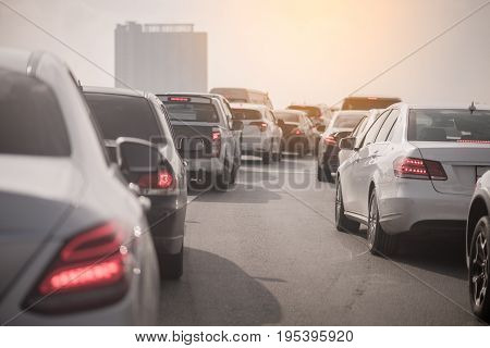 Traffic Jam On Toll Way With Row Of Cars