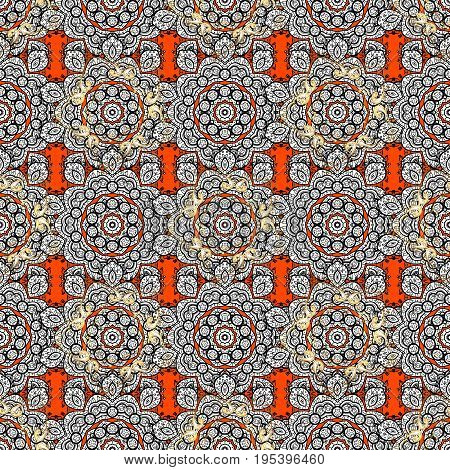 Seamless classic golden pattern. Vector traditional orient ornament. Golden pattern on orange background with golden elements.