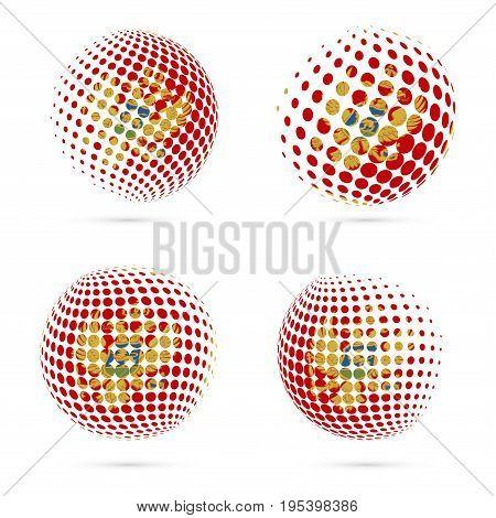 Montenegro Halftone Flag Set Patriotic Vector Design. 3D Halftone Sphere In Montenegro National Flag