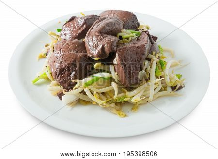 Chinese Traditional Food Stir Fried Bean Sprout with Congealed Pork Blood Pork Blood Pudding or Pig Blood Curd Isolated on White Background.