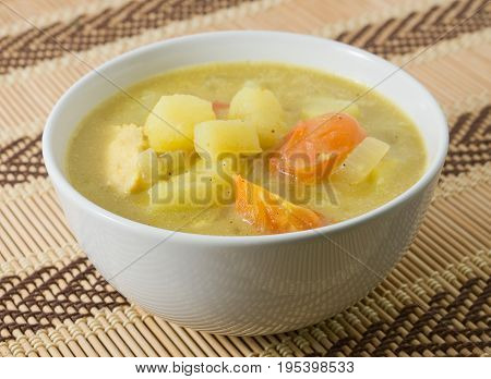 Cuisine and Food A Bowl of Vegetable Stew Made of Chopped Potatoes Tomatoes and Chicken.