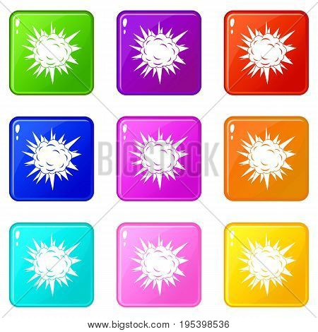 Terrible explosion icons of 9 color set isolated vector illustration